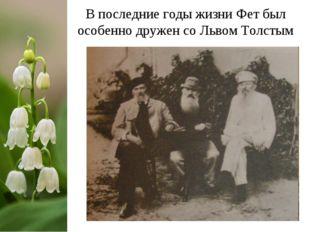 В последние годы жизни Фет был особенно дружен со Львом Толстым