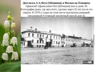 Дом поэта А.А.Фета (Шеншина) в Москве на Плющихе Афанасий Афанасьевич Фет (Ше
