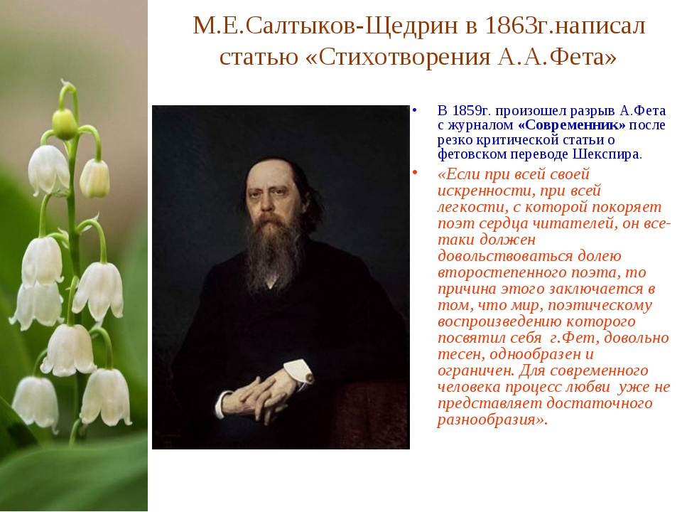 М.Е.Салтыков-Щедрин в 1863г.написал статью «Стихотворения А.А.Фета» В 1859г....