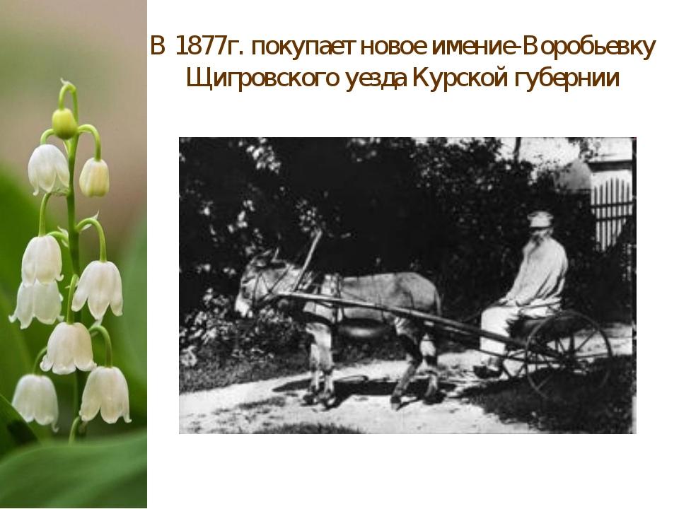 В 1877г. покупает новое имение-Воробьевку Щигровского уезда Курской губернии