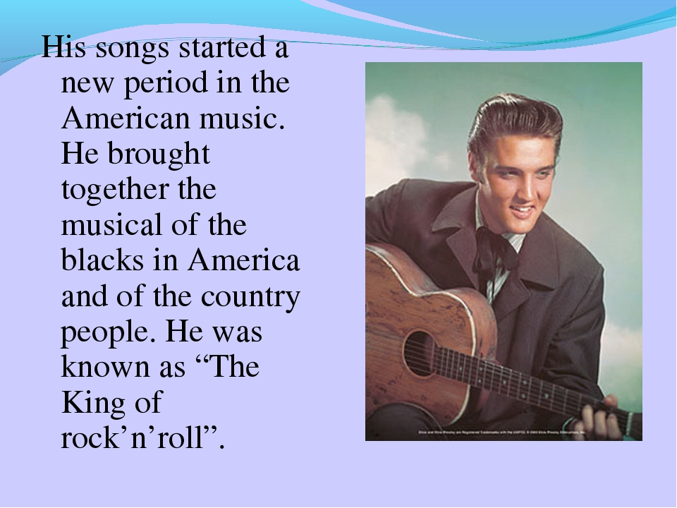 His songs started a new period in the American music. He brought together the...