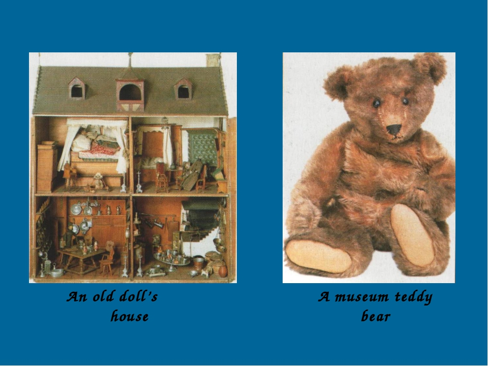 An old doll's house A museum teddy bear