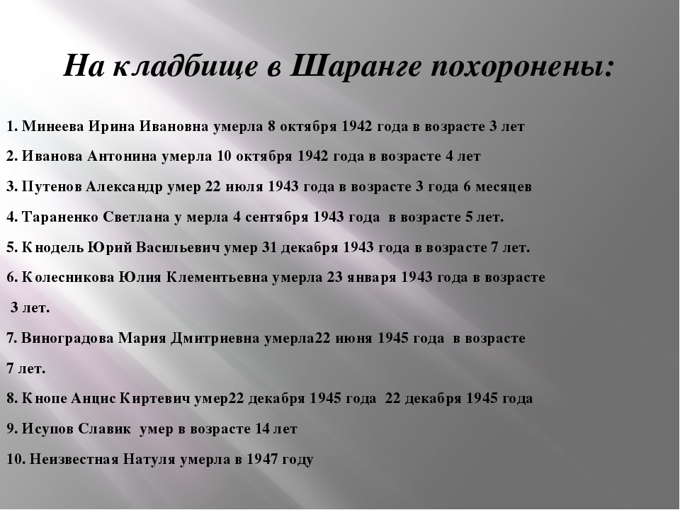 На кладбище в Шаранге похоронены: 1. Минеева Ирина Ивановна умерла 8 октября...