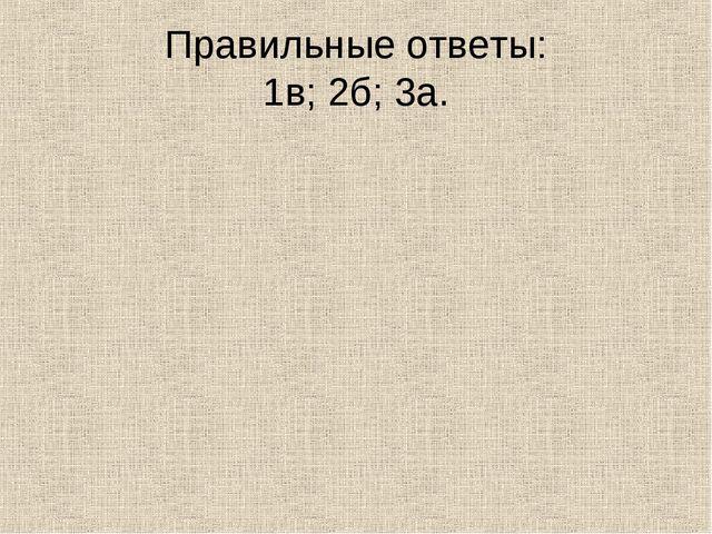 Правильные ответы: 1в; 2б; 3а.