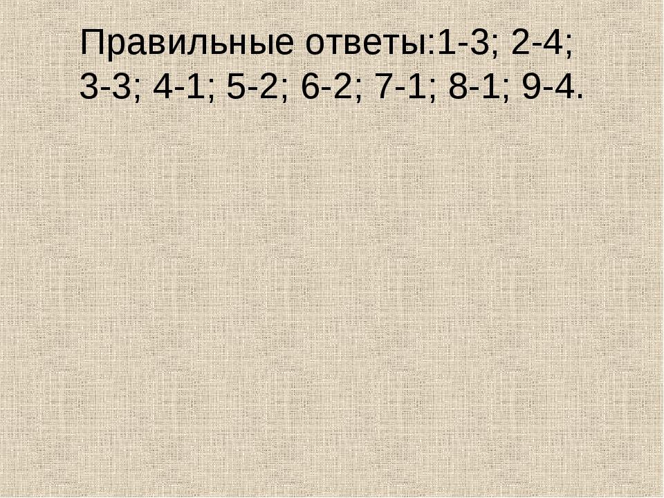 Правильные ответы:1-3; 2-4; 3-3; 4-1; 5-2; 6-2; 7-1; 8-1; 9-4.