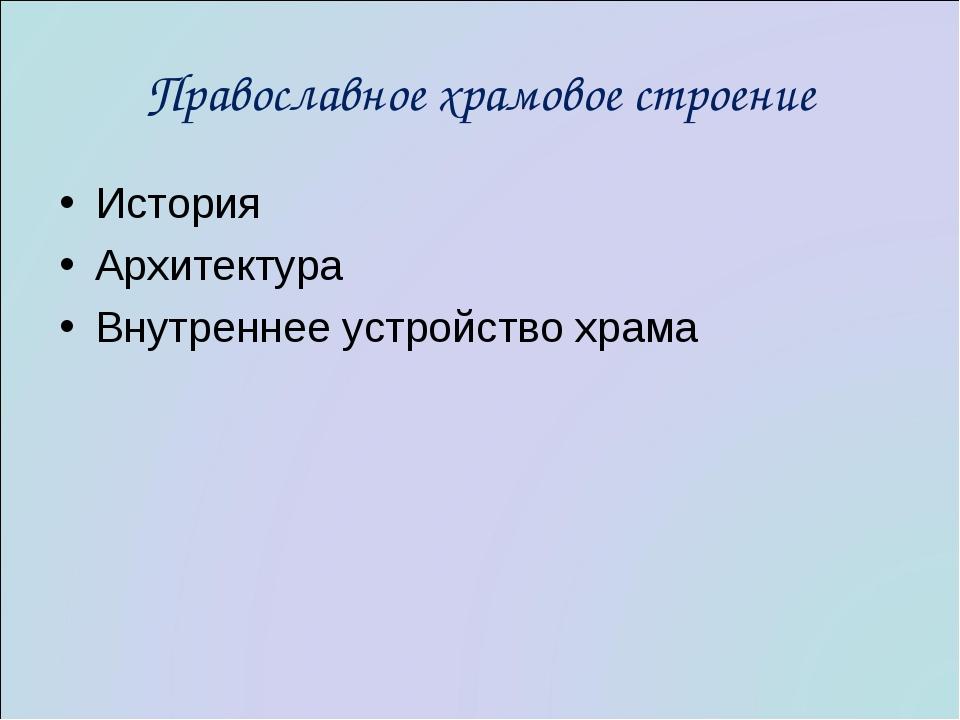 Православное храмовое строение История Архитектура Внутреннее устройство храма