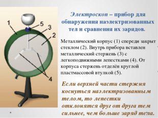 Электроскоп – прибор для обнаружения наэлектризованных тел и сравнения их зар
