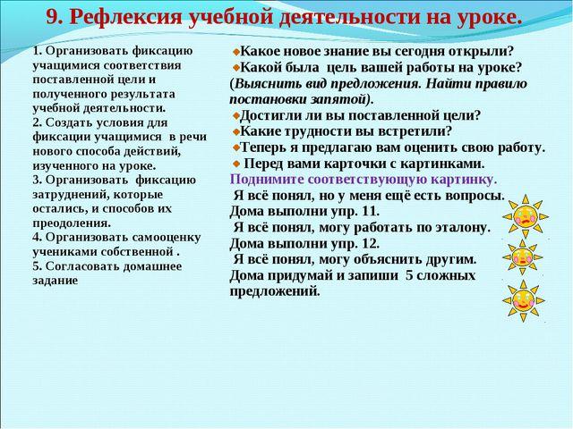 9. Рефлексия учебной деятельности на уроке. 1. Организовать фиксацию учащимис...