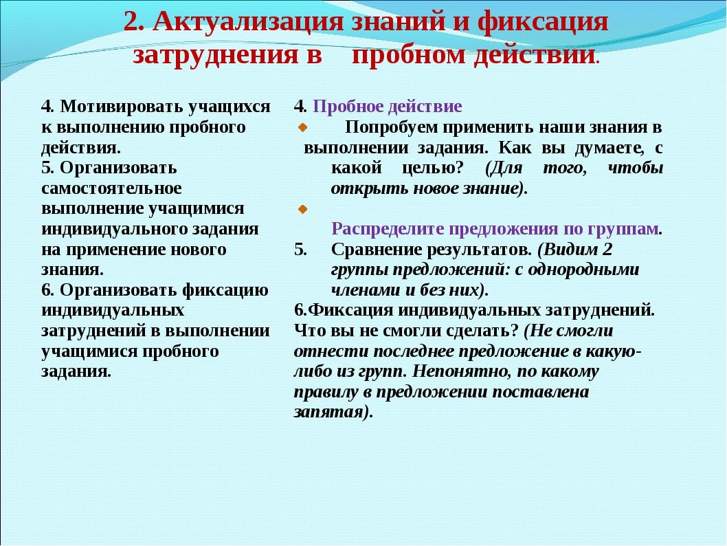 2. Актуализация знаний и фиксация затруднения в пробном действии. 4. Мотивиро...