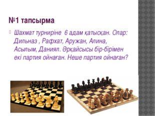 №1 тапсырма Шахмат турниріне 6 адам қатысқан. Олар: Дильназ , Рафхат, Аружан,