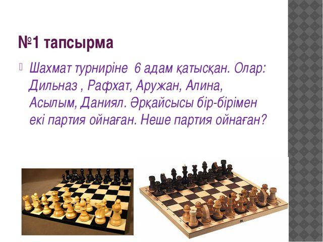 №1 тапсырма Шахмат турниріне 6 адам қатысқан. Олар: Дильназ , Рафхат, Аружан,...
