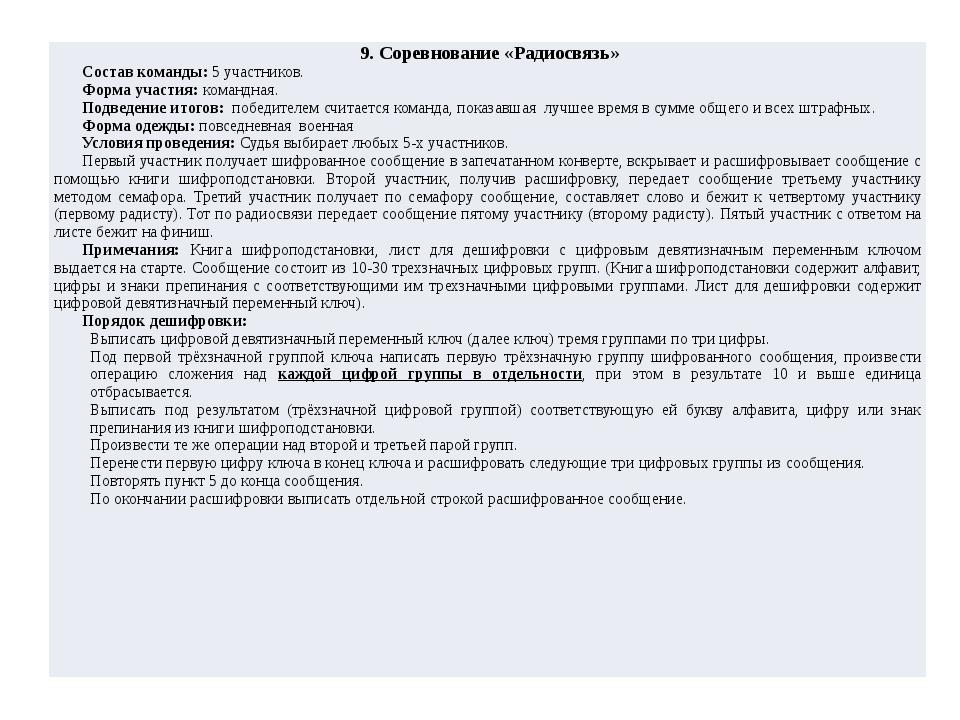 9. Соревнование «Радиосвязь» Состав команды:5 участников. Форма участия:коман...