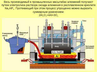 Весь производимый в промышленных масштабах алюминий получают путем электролиз
