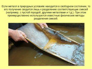 Если металл в природных условиях находится в свободном состоянии, то его полу