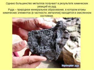 Однако большинство металлов получают в результате химических реакций из руд.