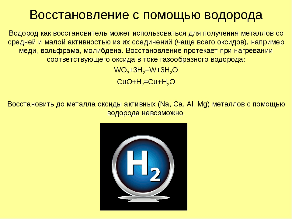 Восстановление с помощью водорода Водород как восстановитель может использова...