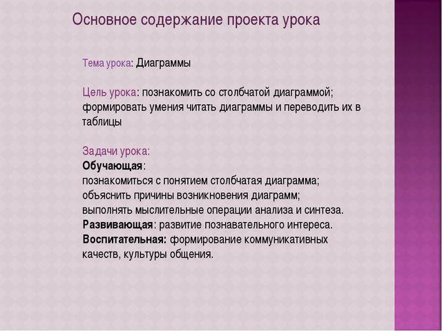 Основное содержание проекта урока Тема урока: Диаграммы Цель урока: познакоми...