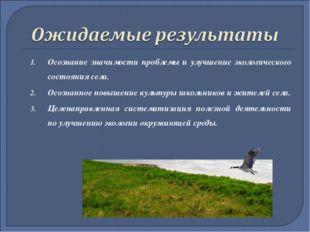 Осознание значимости проблемы и улучшение экологического состояния села. Осоз