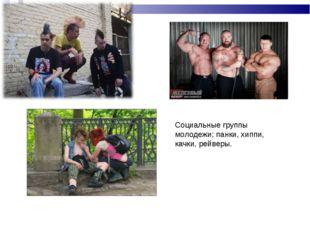 Социальные группы молодежи; панки, хиппи, качки, рейверы.