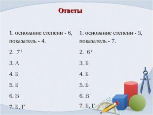 Ответы 1.основание степени - 6, показатель - 4. 2. 7 5 3. А 4. Б 5. Б 6. В