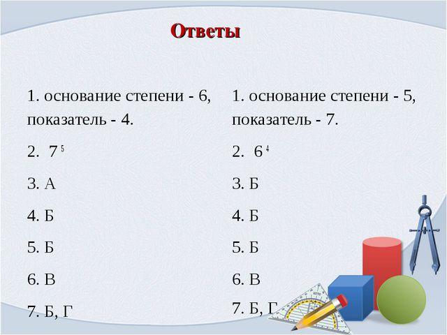 Ответы 1.основание степени - 6, показатель - 4. 2. 7 5 3. А 4. Б 5. Б 6. В...