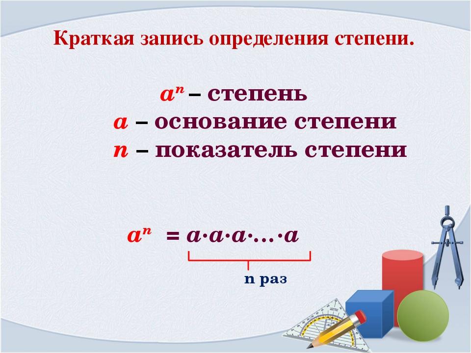 Краткая запись определения степени. an – cтепень a – основание степени n – по...