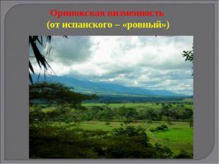 Оринокская низменность (от испанского – «ровный»)