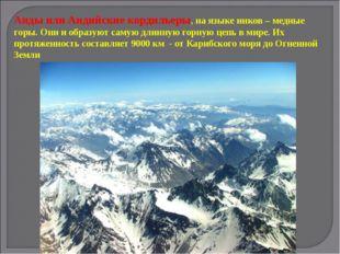 Анды или Андийские кордильеры, на языке инков – медные горы. Они и образуют с