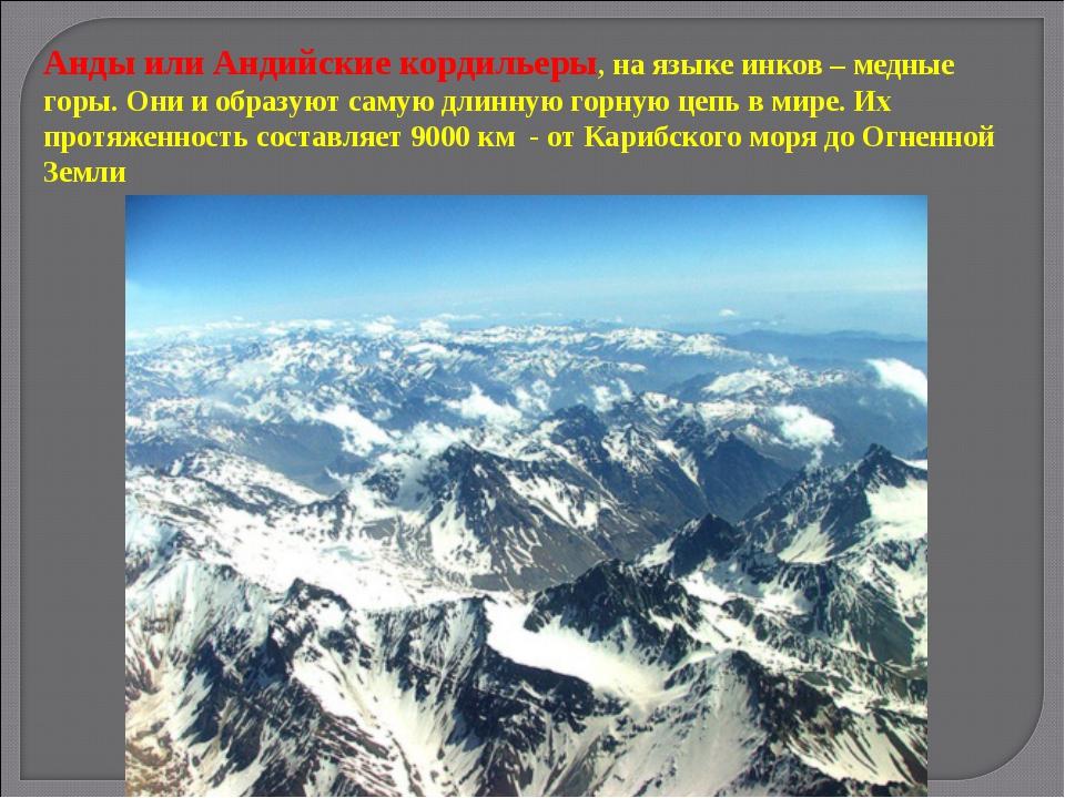 Анды или Андийские кордильеры, на языке инков – медные горы. Они и образуют с...