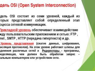 Модель OSI (Open System Interconnection) Модель OSI состоит из семи уровней,