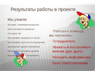 Результаты работы в проекте Мы узнали: Историю появления процентов; Где встр