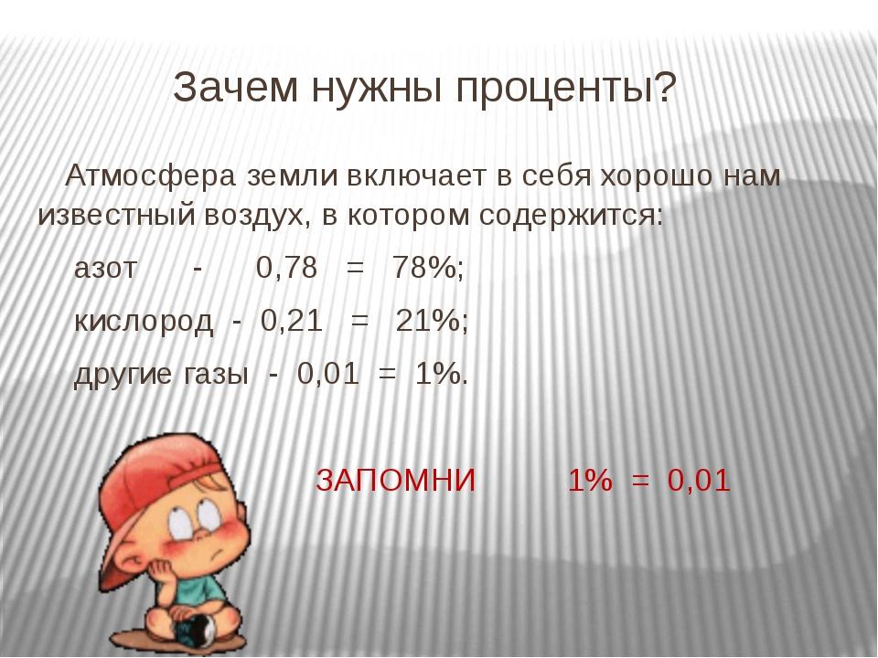 Зачем нужны проценты? Атмосфера земли включает в себя хорошо нам известный в...