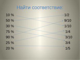 Найти соответствие: 10 % 1/2 50 % 9/10 30 % 1/10 75 % 1/4 90 % 3/10 25 % 3/4