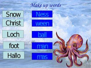 Make up words Snow Christ Loch Hallo foot Ness ween ball man mas