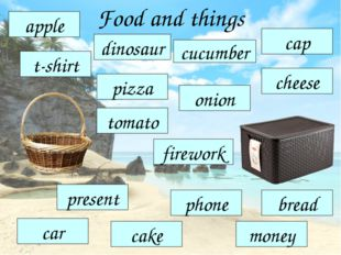Food and things pizza apple t-shirt cucumber onion cheese cap tomato firework