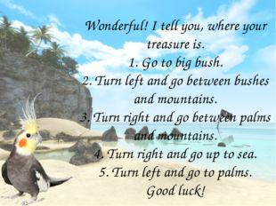 Wonderful! I tell you, where your treasure is. 1. Go to big bush. 2. Turn lef