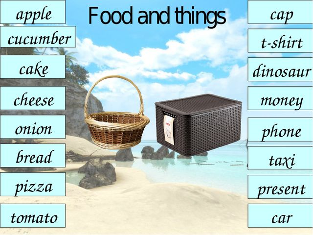 Food and things pizza apple t-shirt cucumber onion cheese cap tomato taxi bre...