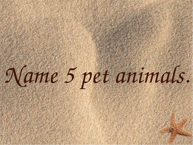 Name 5 pet animals.