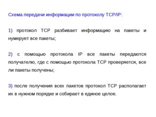 Схема передачи информации по протоколу TCP/IP: 1) протокол TCP разбивает инфо