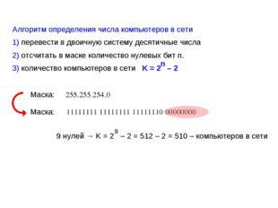 Алгоритм определения числа компьютеров в сети 1) перевести в двоичную систему