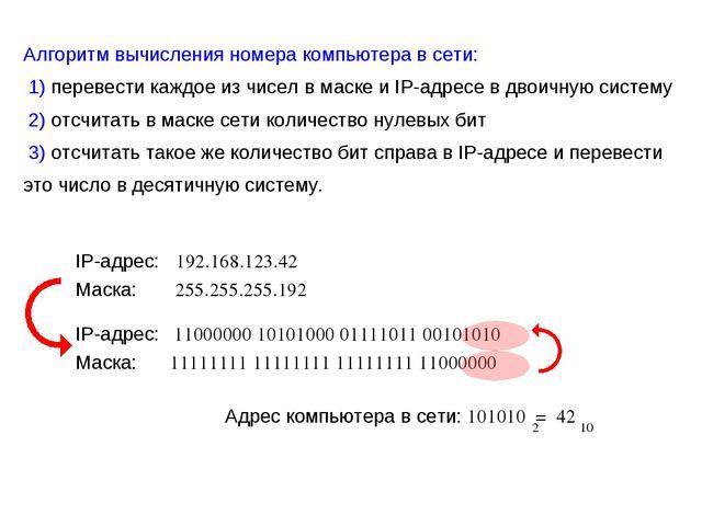 Алгоритм вычисления номера компьютера в сети: 1) перевести каждое из чисел в...