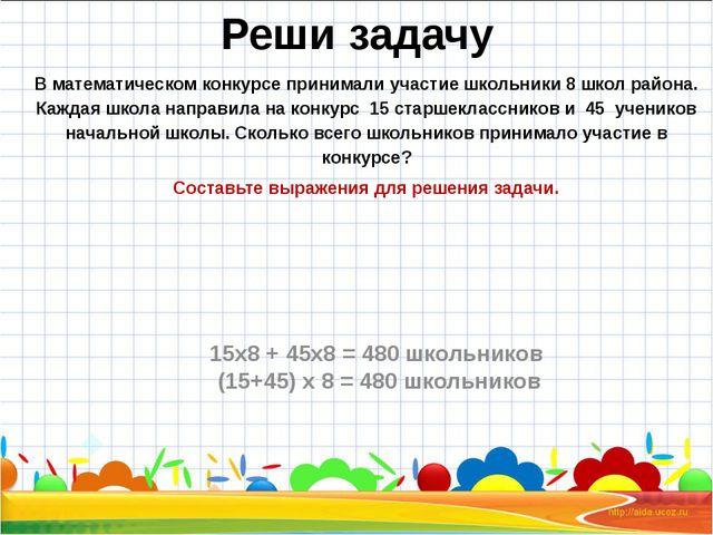 Реши задачу В математическом конкурсе принимали участие школьники 8 школ райо...
