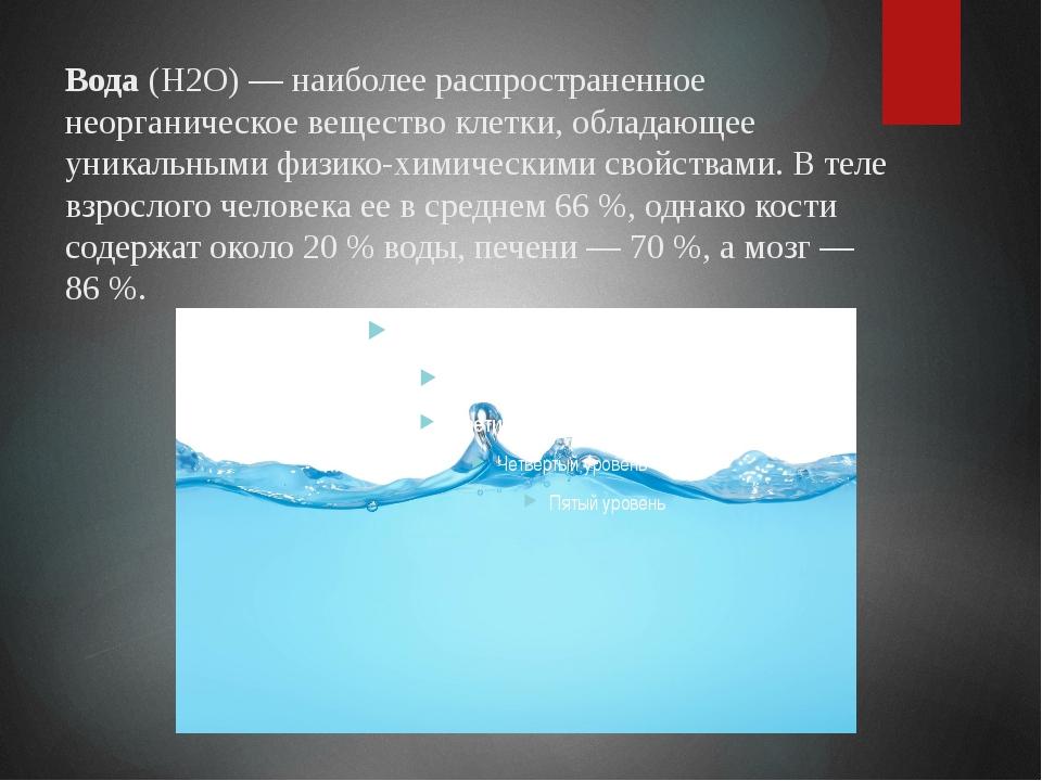 Вода(Н2О) — наиболее распространенное неорганическое вещество клетки, облада...