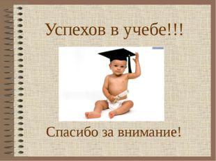 Успехов в учебе!!! Спасибо за внимание!