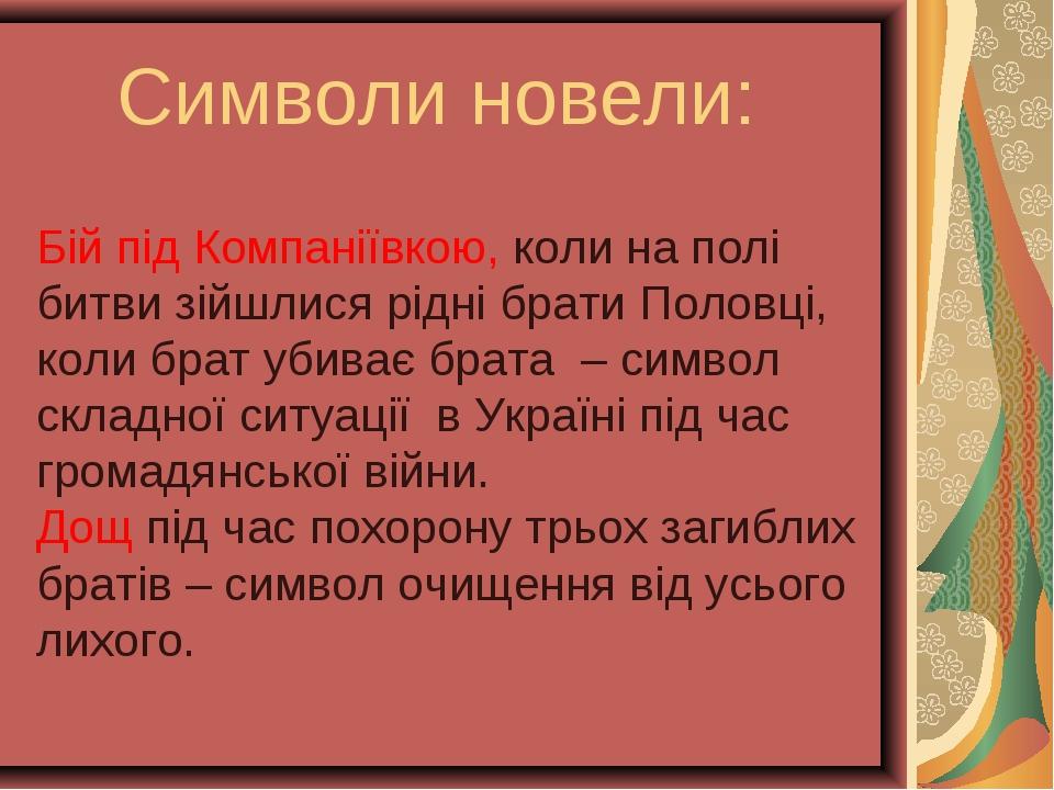 Символи новели: Бій під Компаніївкою, коли на полі битви зійшлися рідні брати...