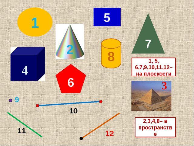 5 1 7 6 8 2 3 1, 5, 6,7,9,10,11,12– на плоскости 4 2,3,4,8– в пространстве 9...
