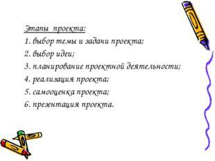 Этапы проекта: 1. выбор темы и задачи проекта; 2. выбор идеи; 3. планировани