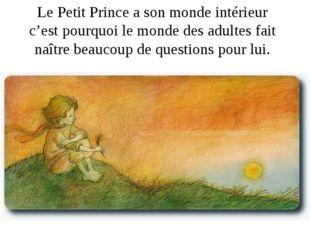 Le Petit Prince a son monde intérieur c'est pourquoi le monde des adultes fai