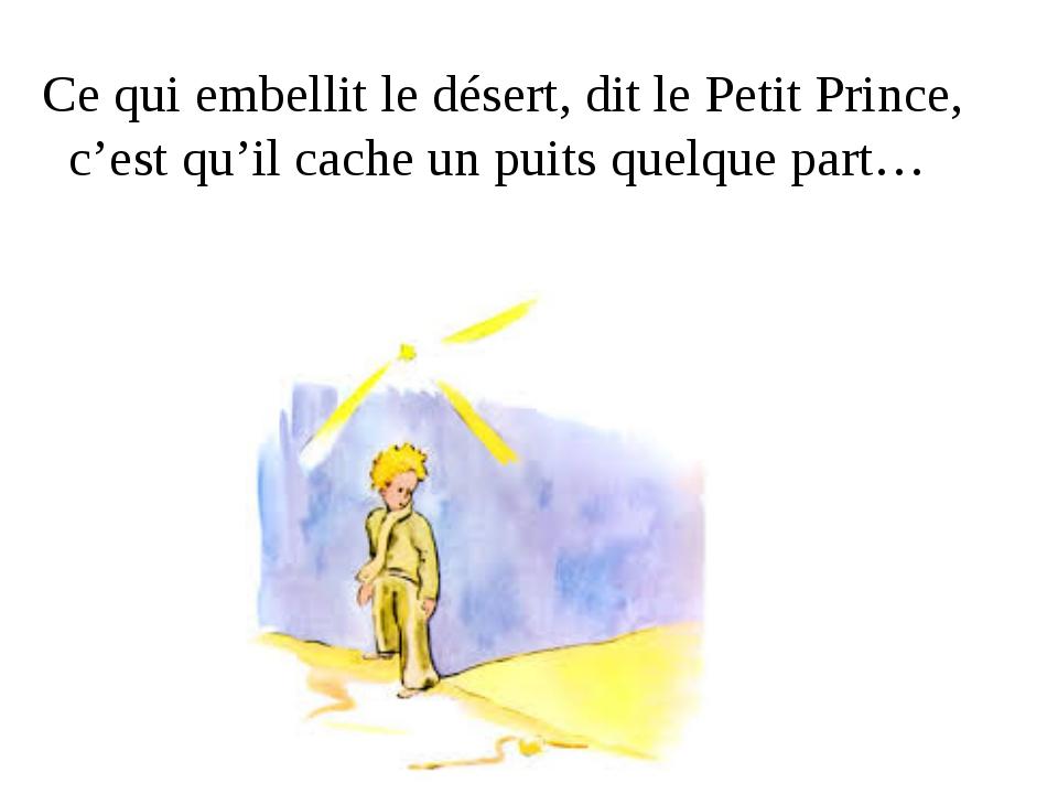 Ce qui embellit le désert, dit le Petit Prince, c'est qu'il cache un puits q...