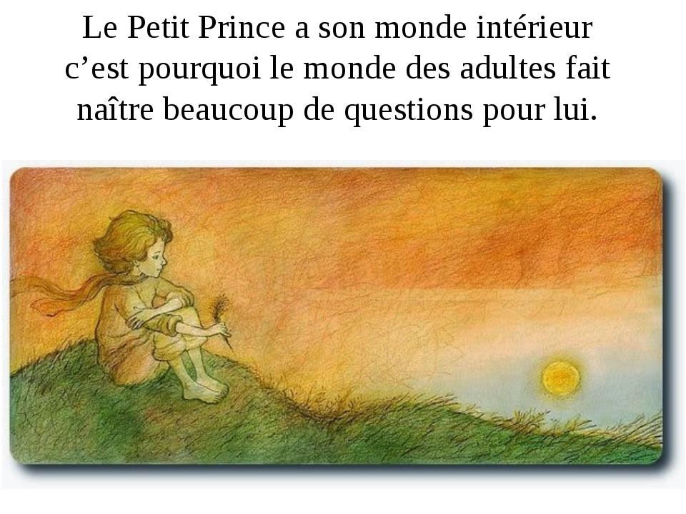 Le Petit Prince a son monde intérieur c'est pourquoi le monde des adultes fai...